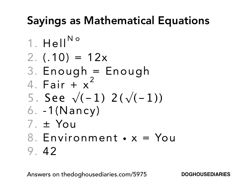 Sayings As Mathematical Equations